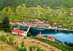 Vista del pueblo de Belesar (Ribeira Sacra)