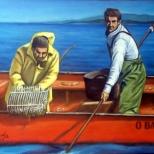 Dos mariscadores a flote