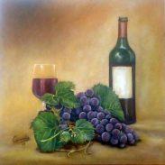 Uvas con botella y copa